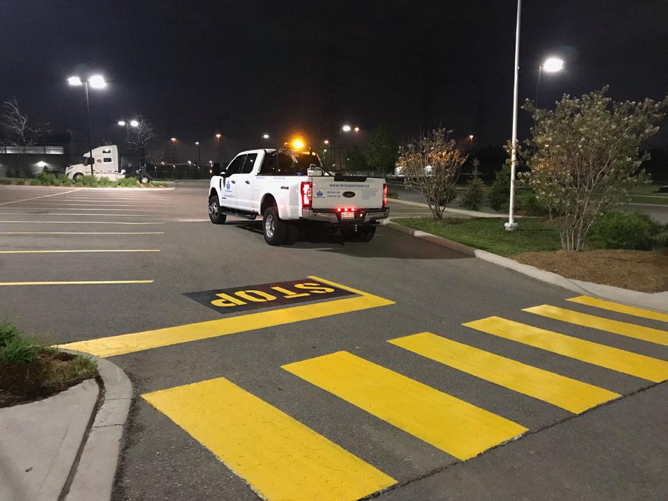 Parking lot line painting